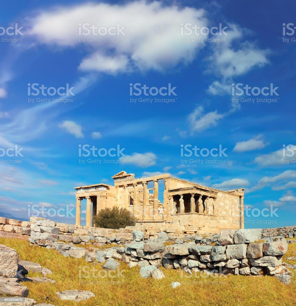 Erechtheion temple Acropolis, Athens, Greece, panoramic image stock photo