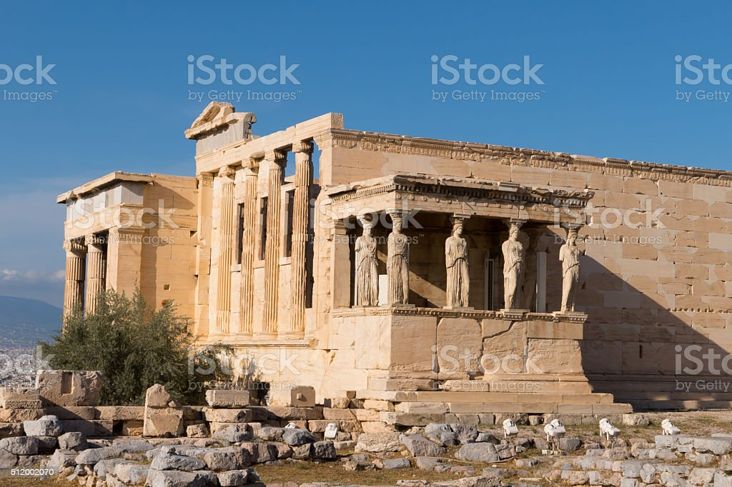 Erechtheion temple, Acropolis, Athens, Greece stock photo