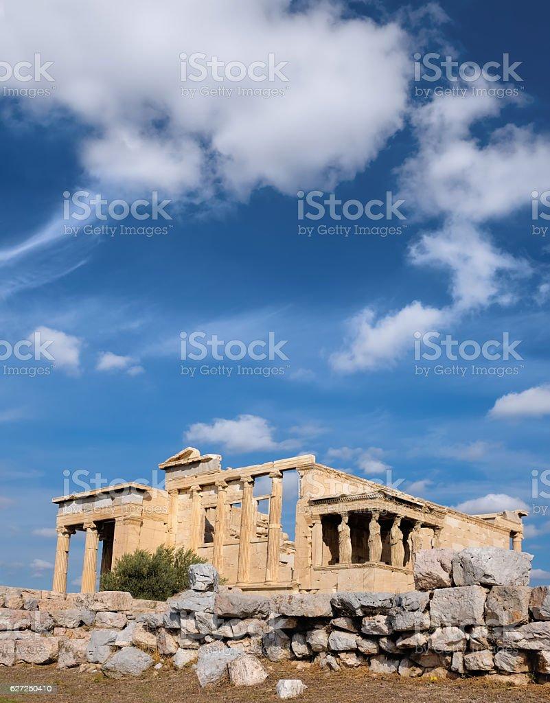 Erechtheion temple Acropolis, Athens, Greece, with famous Caryat stock photo