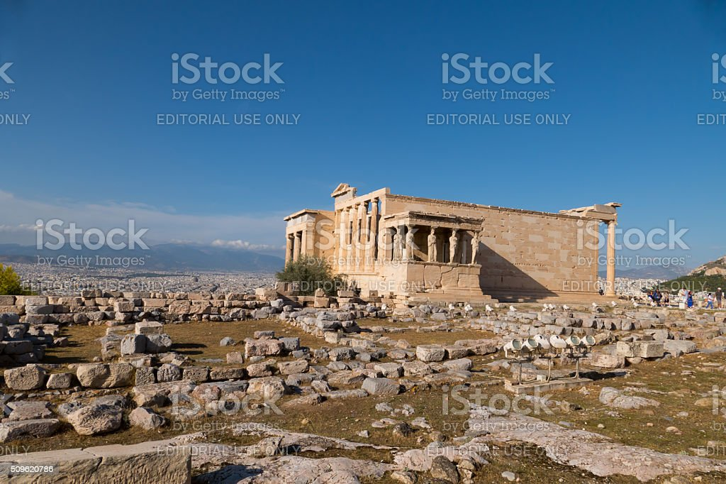 Erechtheion temple, Acropolis, Athens, Greece-from a distance stock photo