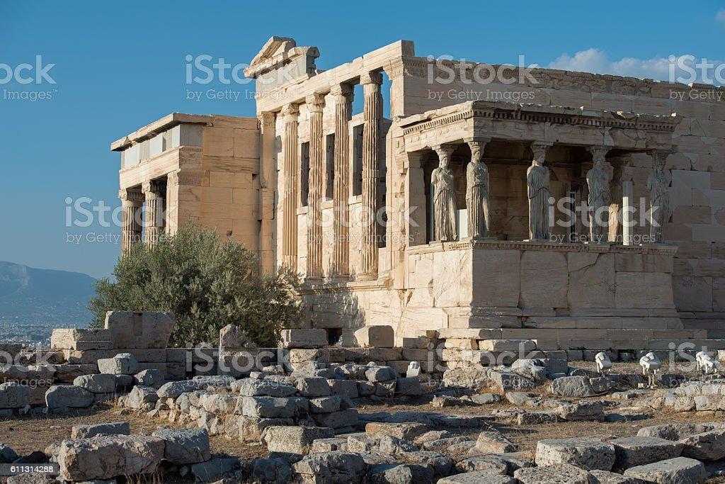 Erechtheion temple, Acropolis of Athens, Greece stock photo