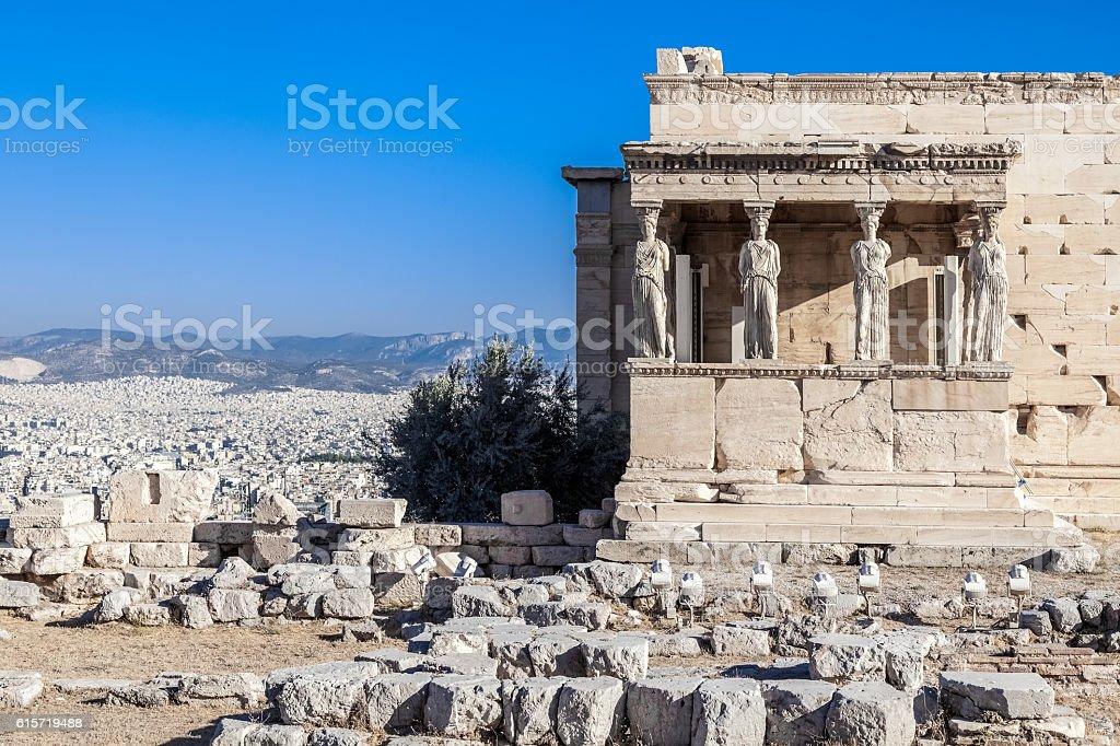 Erechtheion temple in Acropolis of Athens, Greece stock photo
