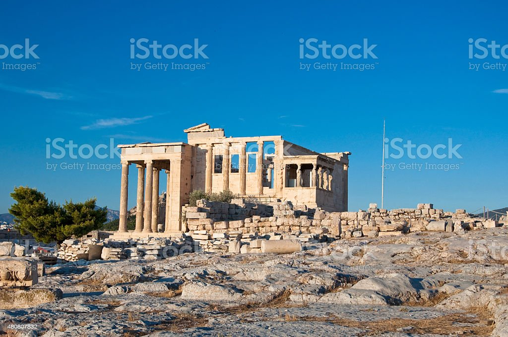 Erechtheion with the Porch of the Caryatids. Athens. stock photo