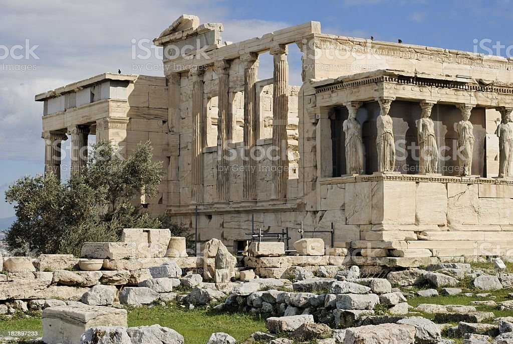 Erechtheum and the Porch of Caryatids royalty-free stock photo