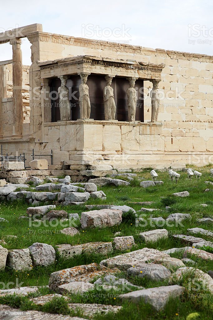 Erechtheum is an ancient Greek temple royalty-free stock photo
