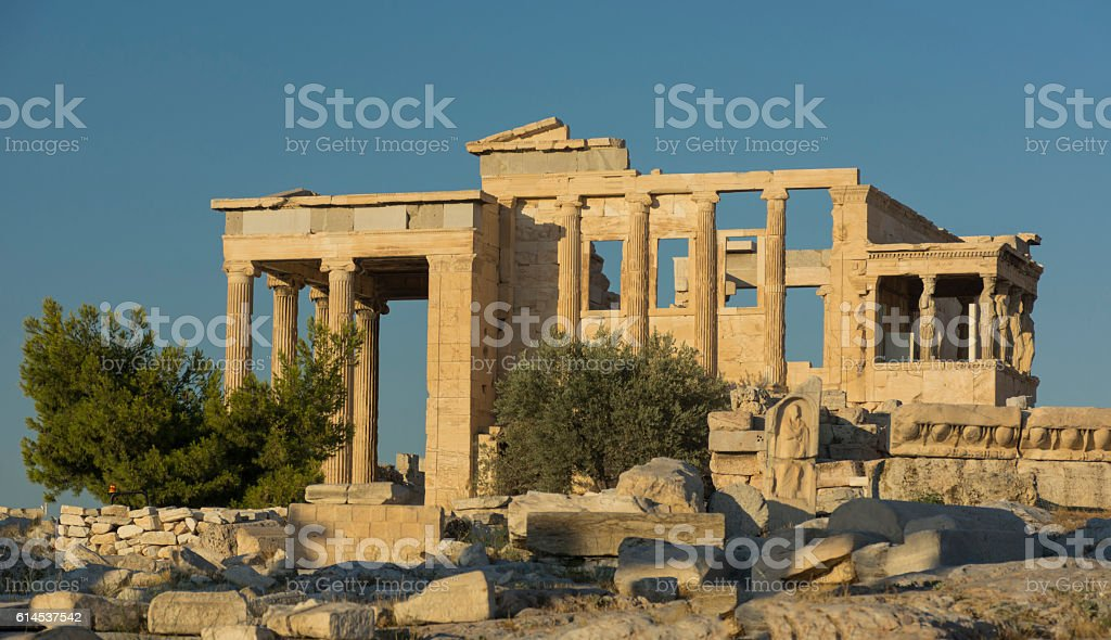 Erechtheum, on the Acropolis, Athens, Greece stock photo