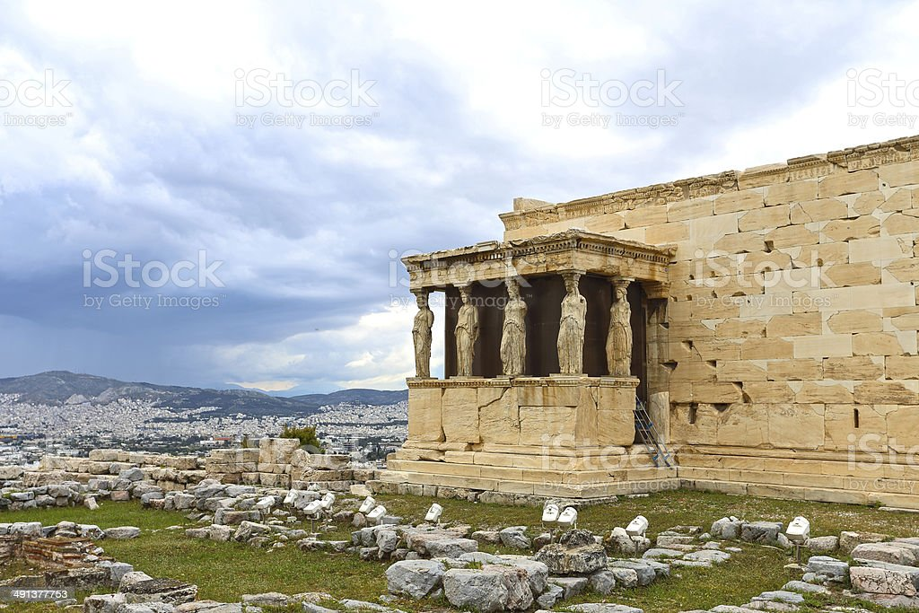 Erectheion, caryatids with panoramic view of the city, Athens, Greece stock photo