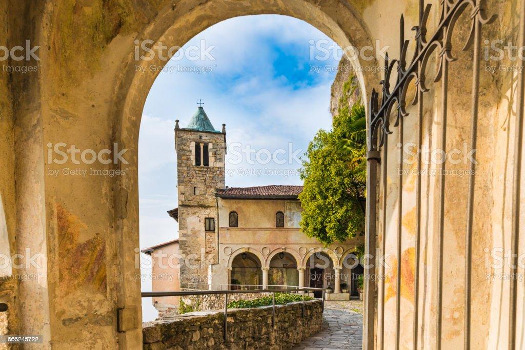 Eremo di Santa Caterina del Sasso (hermitage of XIII century), lake Maggiore, Italy. The structure in photo is the church of Saint Catherine stock photo