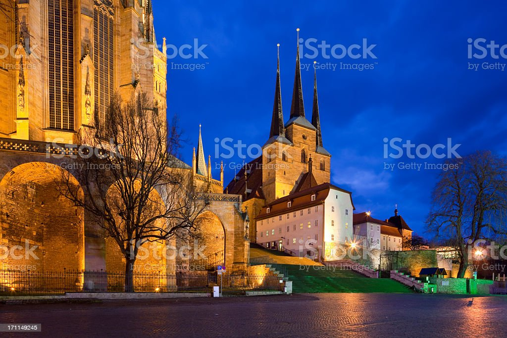 Erfurt at night stock photo