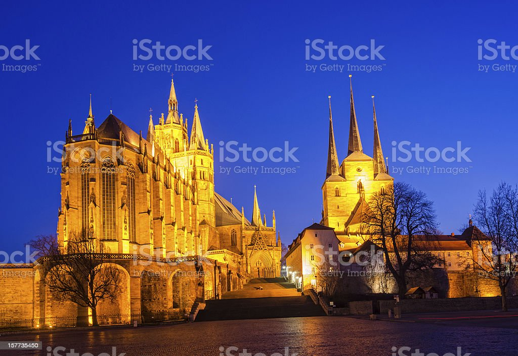 Erfurt Cathedral and Domplatz stock photo