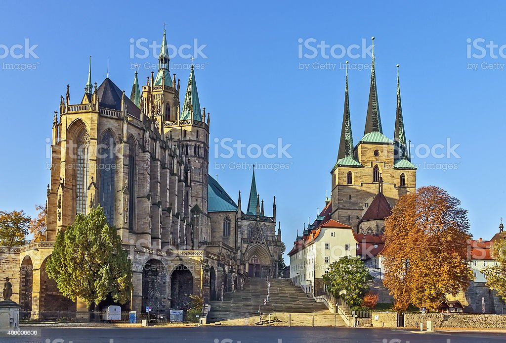 Erfurt Cathedral and Severikirche,Germany stock photo