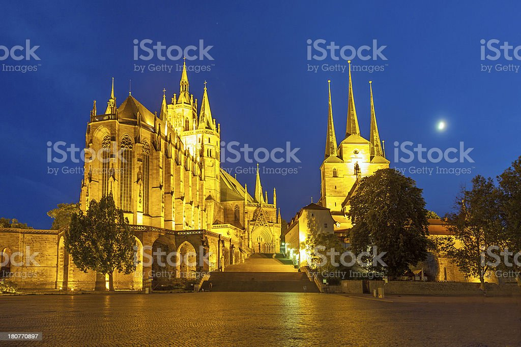 Erfurt Cathedral in the evening royalty-free stock photo