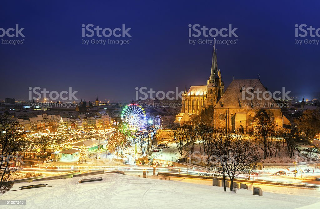 Erfurt Christmas Market and Cathedral covered in snow stock photo