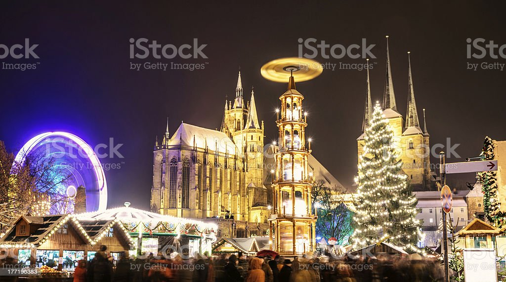 Erfurt Christmas Market and Cathedral stock photo