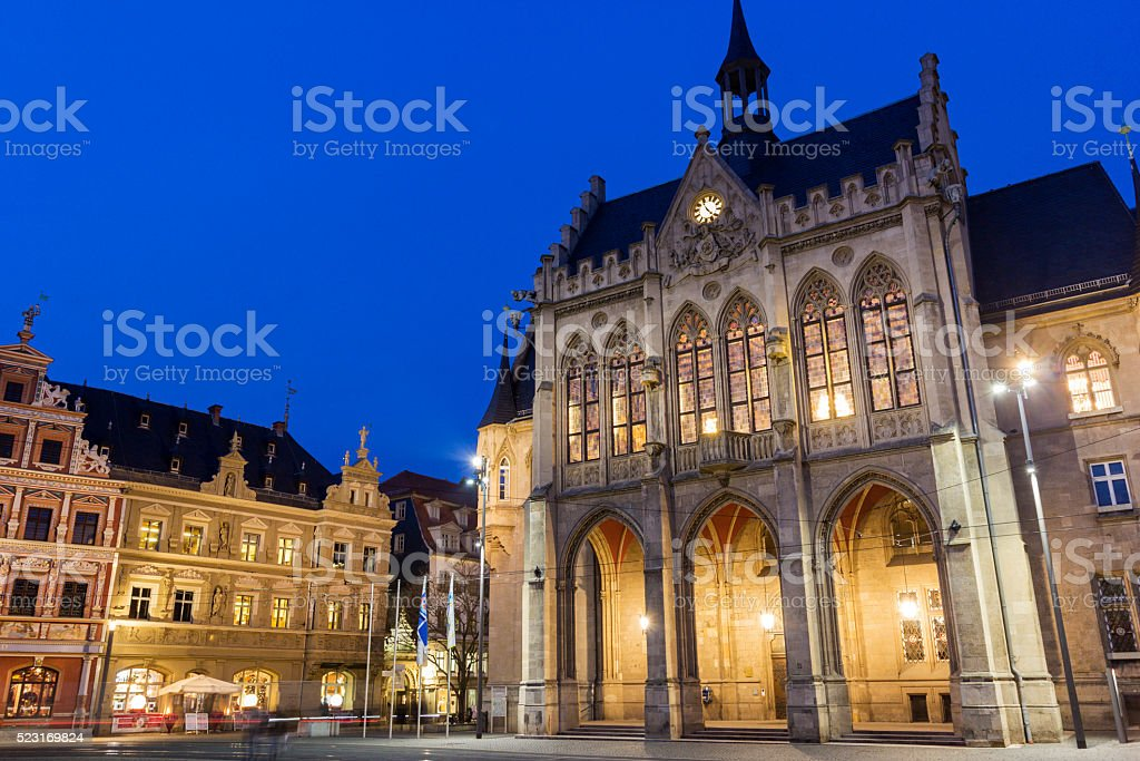 Erfurt City Hall in Germany in the evening stock photo