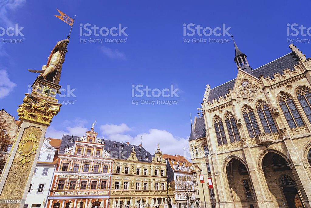 Erfurt Fischmarkt (Fish market) and Rathaus (town hall) stock photo