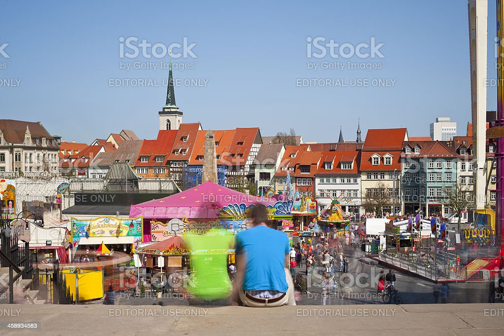 Erfurt, Germany, Domplatz with a fun fair stock photo