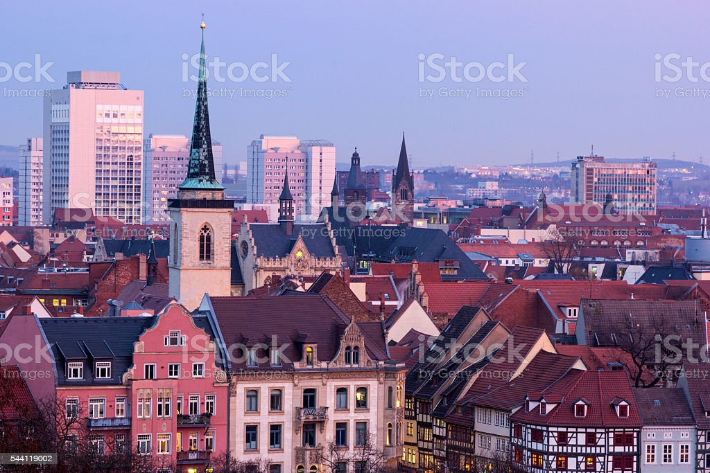Erfurt in Germany in the evening stock photo