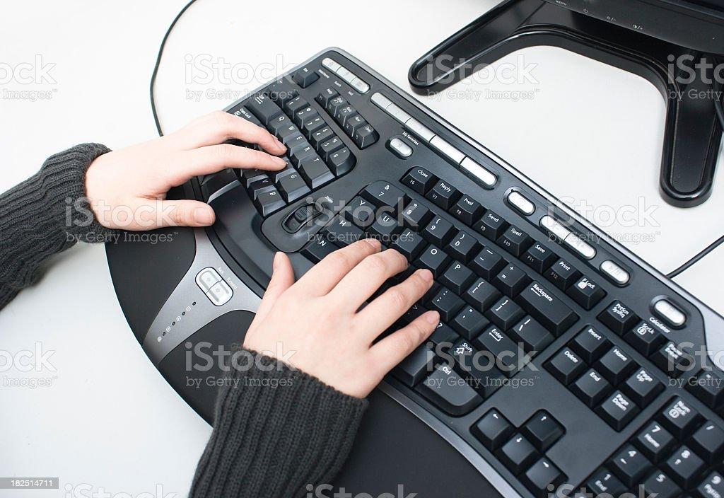 Ergonomic keyboard stock photo