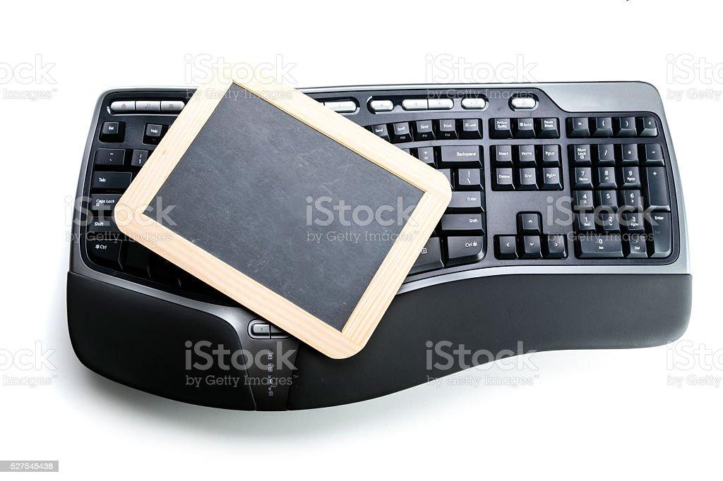 Ergonomic Keyboard  with Chalkboard stock photo