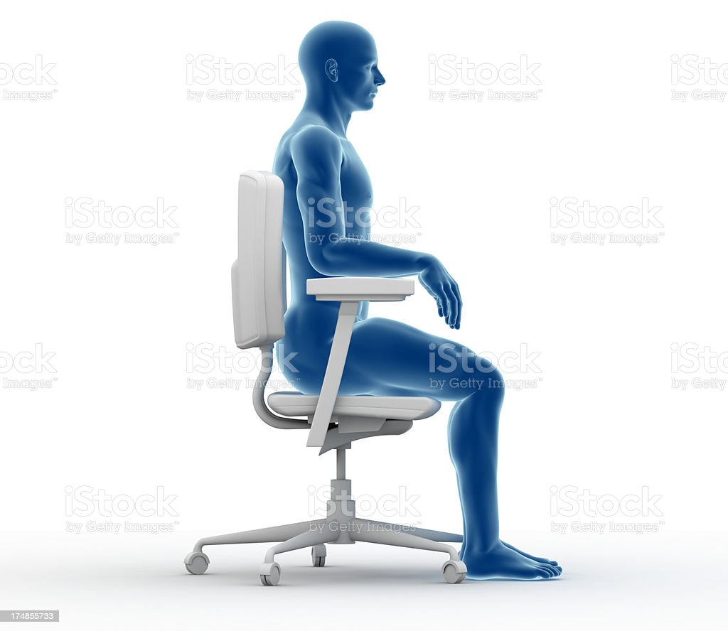 Ergonomics - Proper position to sit and work stock photo