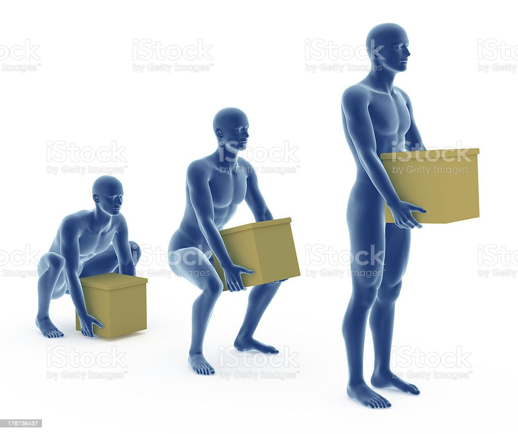 Ergonomics, proper posture to lifting objects from the floor stock photo