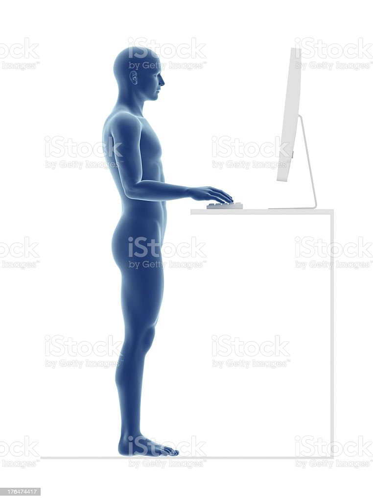 Ergonomics, proper posture to work standing stock photo