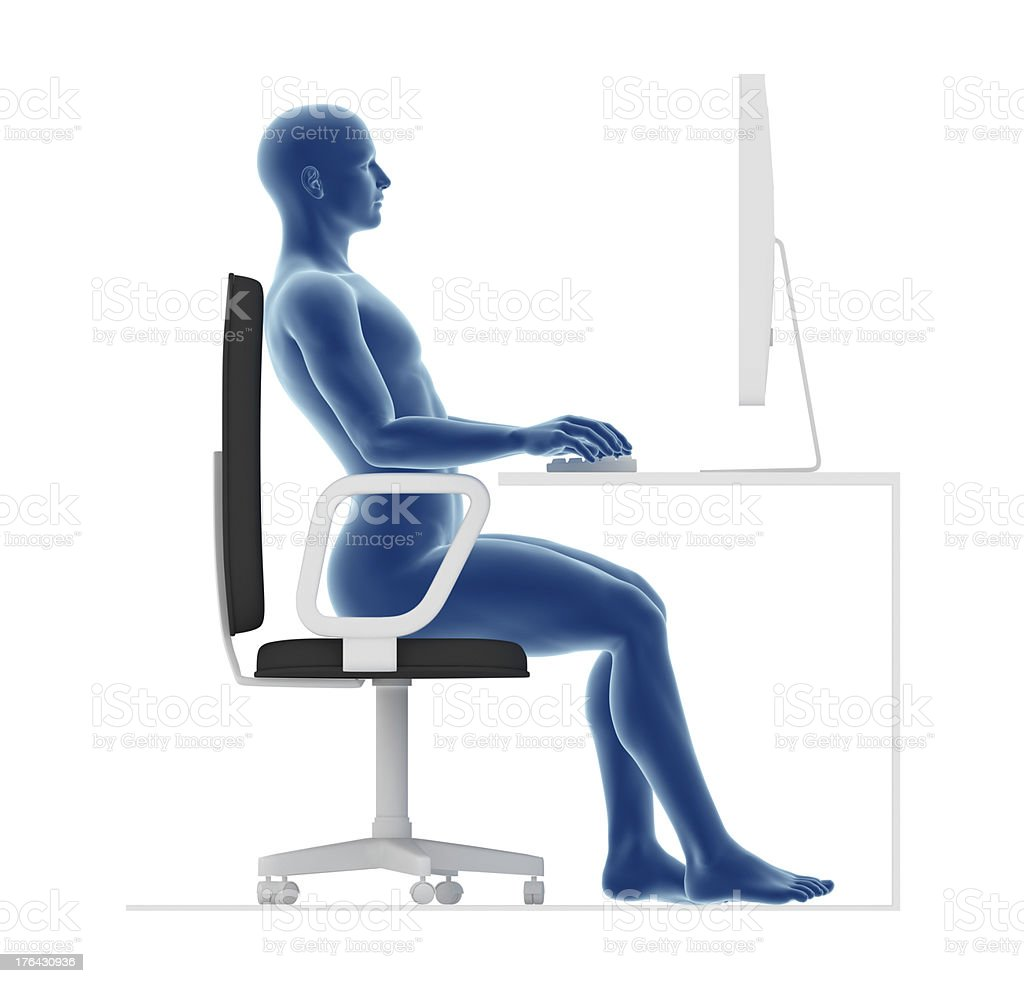 Ergonomics, wrong posture to sit and work on office desk stock photo