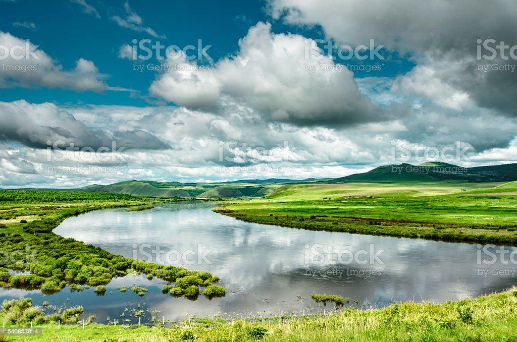 Ergun river, Inner Mongolia, China stock photo