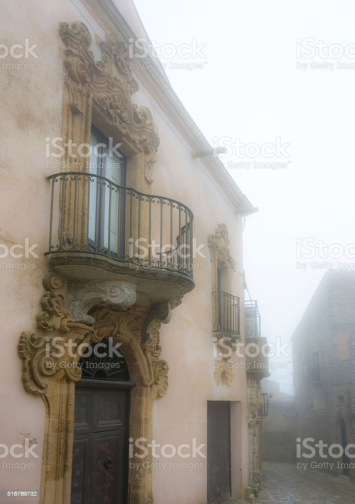 Erice balcony in the Clouds stock photo