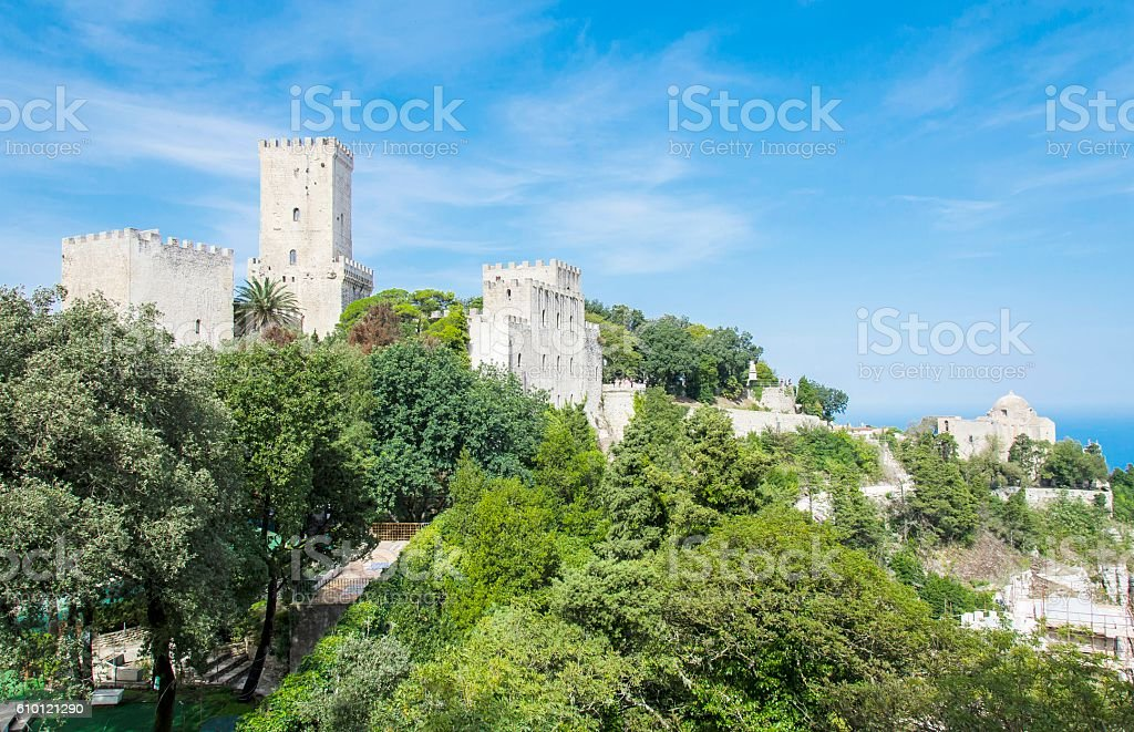 Erice tower, Sicily, Italy stock photo