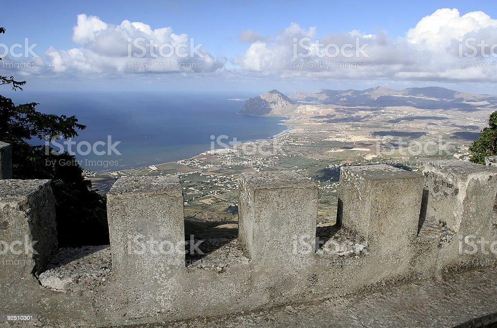 Erice. View from the Castle Walls stock photo