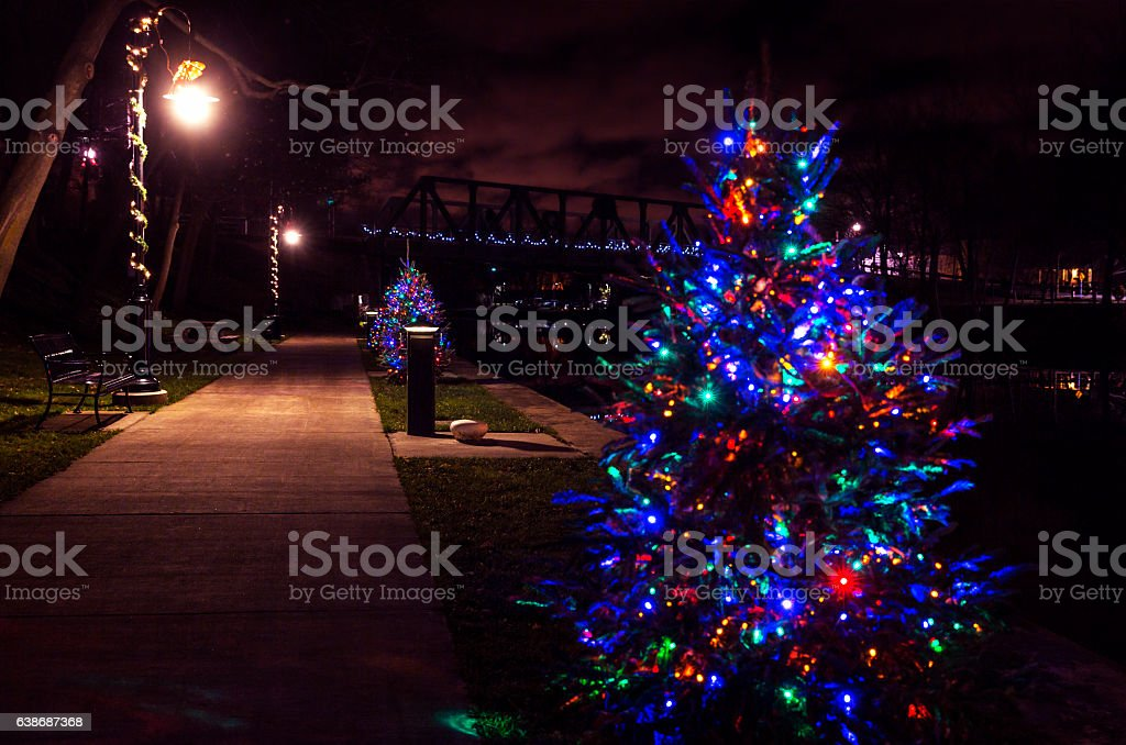 Erie Canal Early December Dawn Christmas Tree Lights stock photo