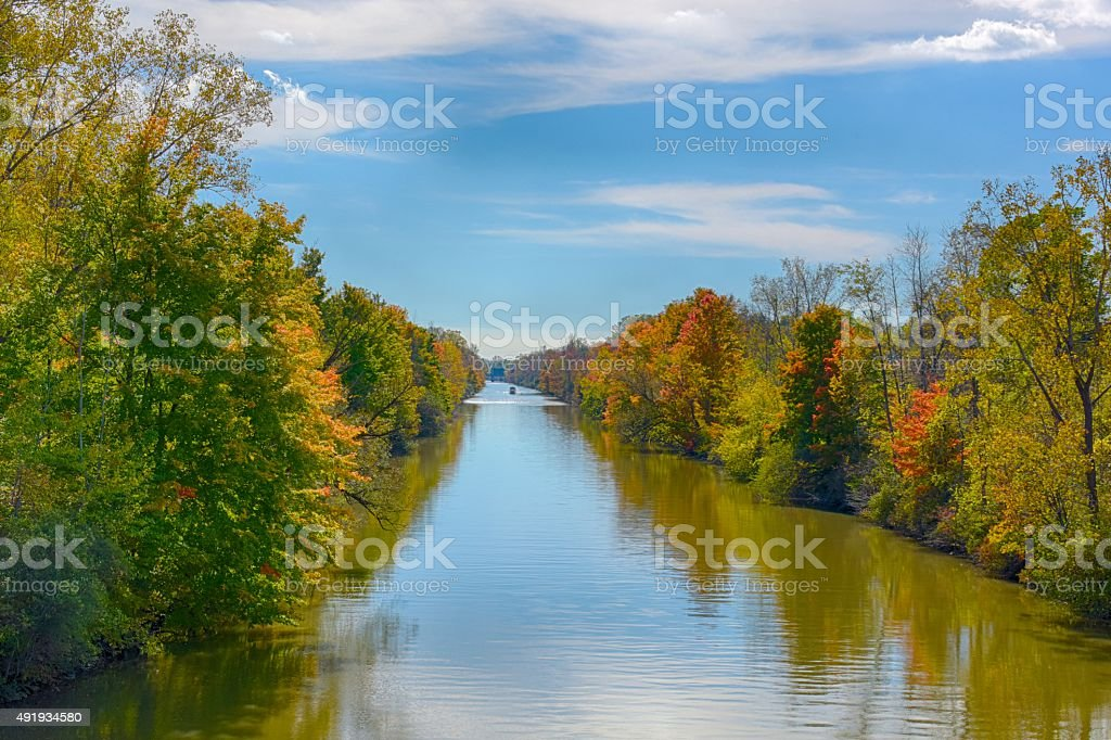 Erie Canal Fall Color stock photo