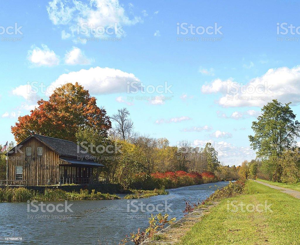 erie canal scene stock photo
