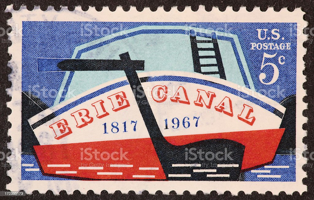 Erie Canal stamp 1960's stock photo