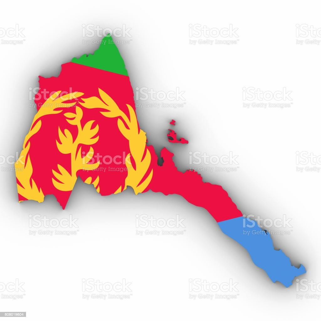 Eritrea Map Outline with Eritrean Flag on White with Shadows 3D Illustration stock photo