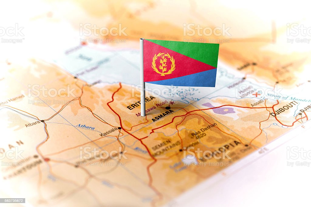 Eritrea pinned on the map with flag stock photo