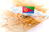 Eritrea pinned on the map with flag