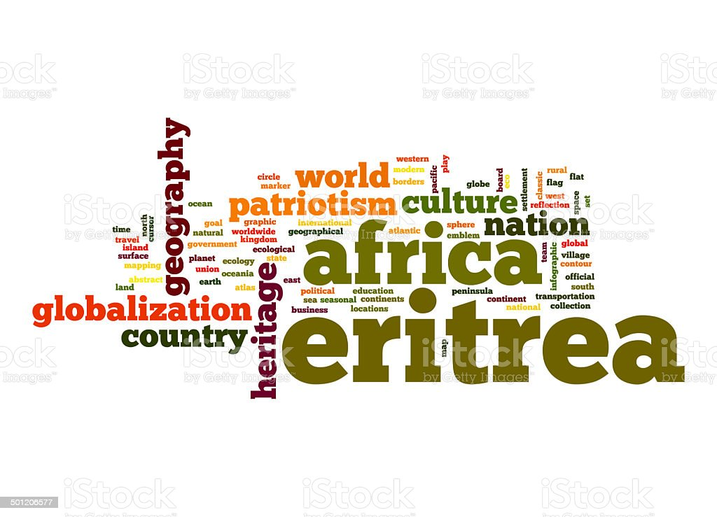 Eritrea word cloud stock photo