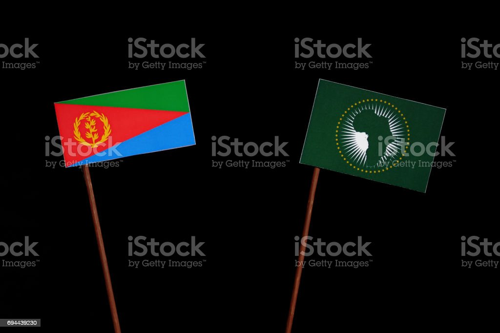 Eritrean flag with African Union flag isolated on black background stock photo