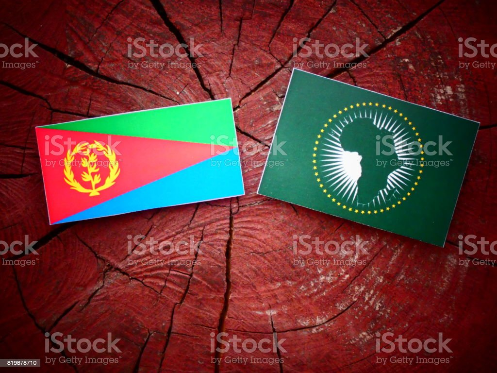 Eritrean flag with African Union flag on a tree stump isolated stock photo