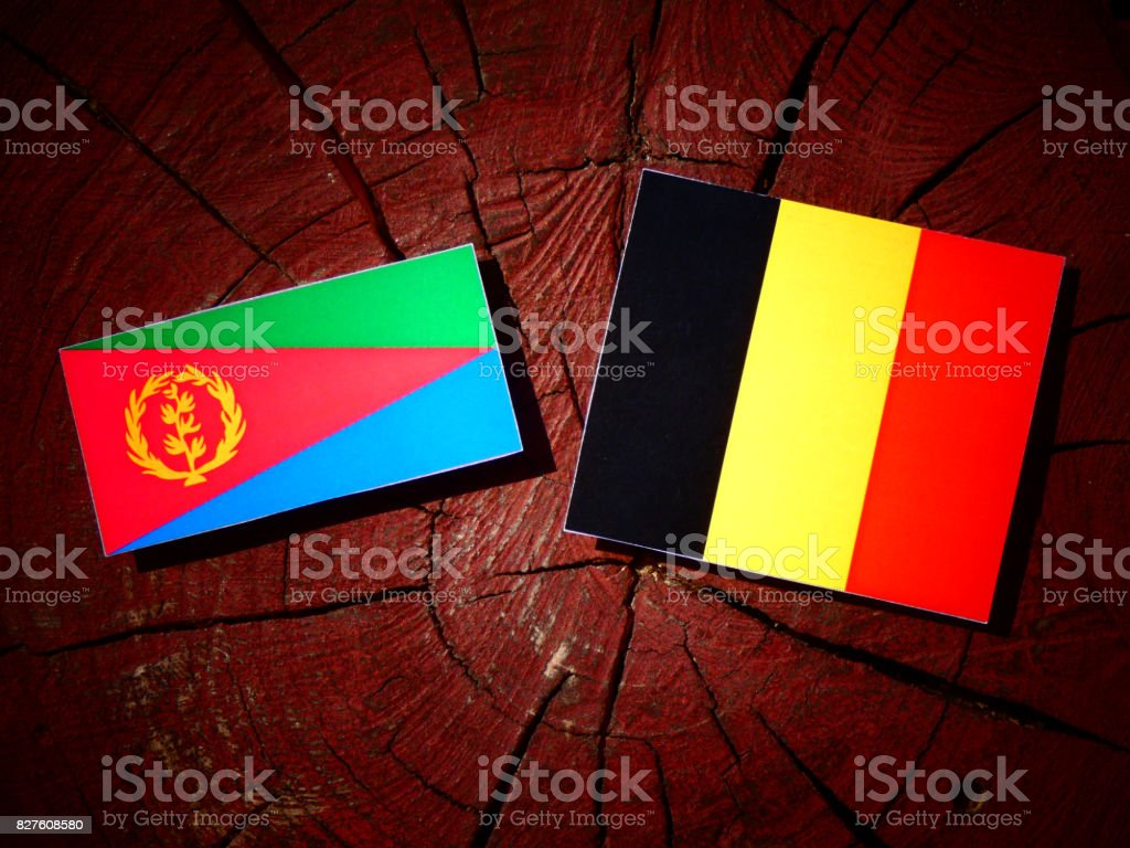 Eritrean flag with Belgian flag on a tree stump isolated stock photo
