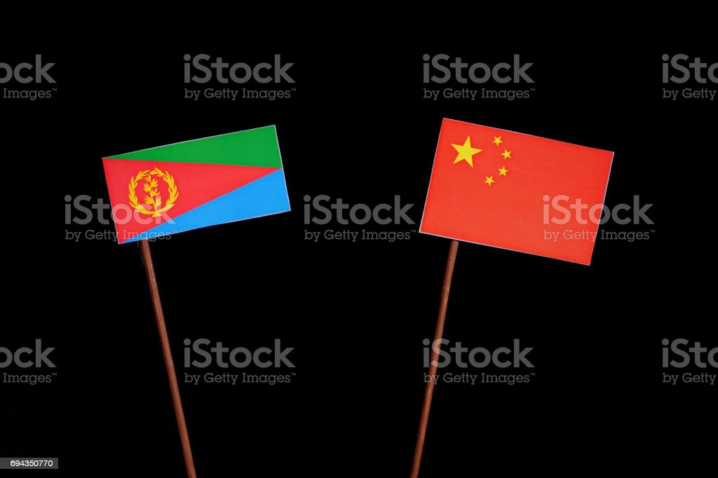 Eritrean flag with Chinese flag isolated on black background stock photo