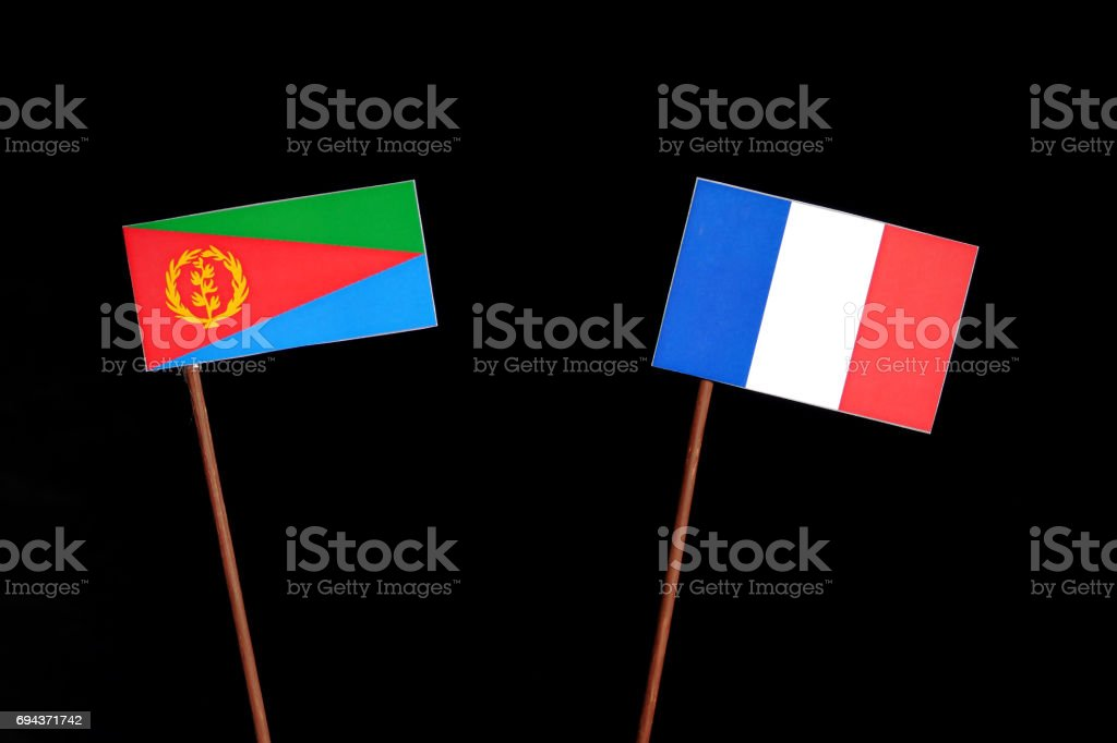 Eritrean flag with French flag isolated on black background stock photo
