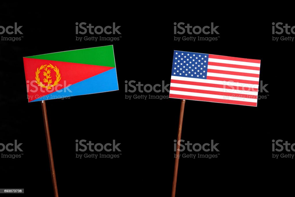 Eritrean flag with USA flag isolated on black background stock photo