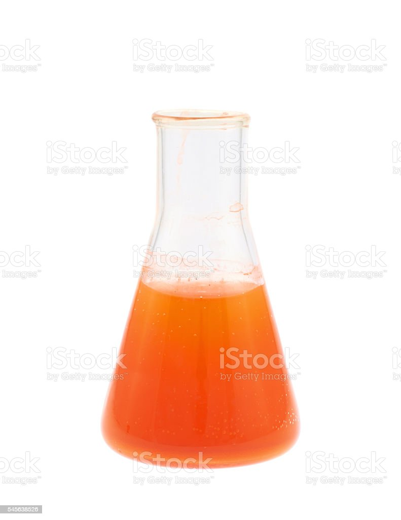 Erlenmeyer flask filled with liquid stock photo