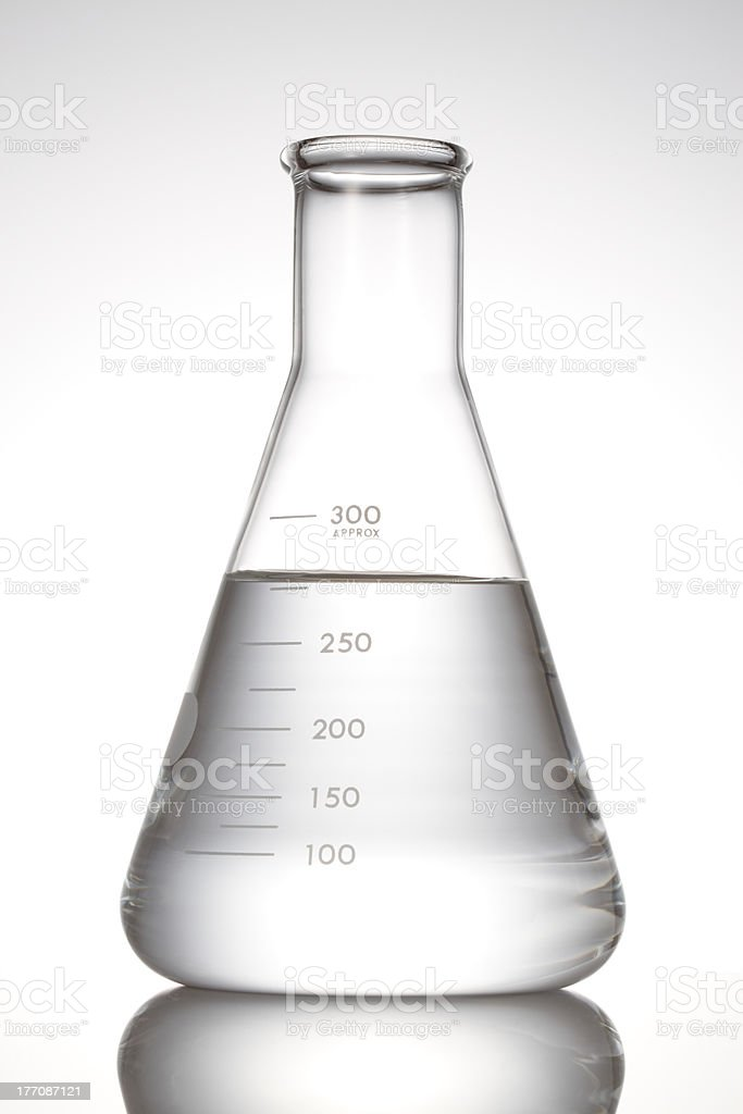 Erlenmeyer flask with clear liquid stock photo