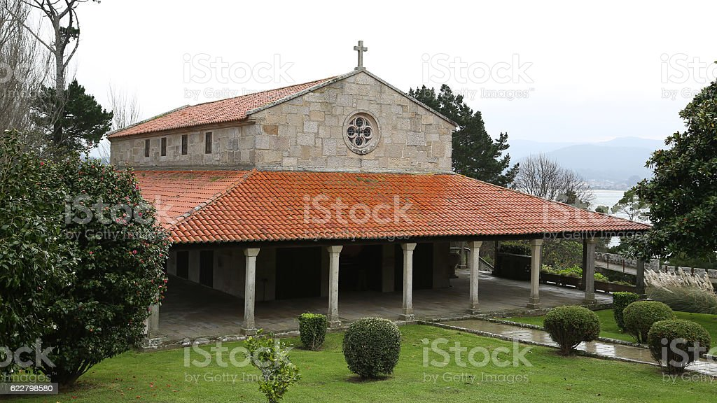 Ermita del Carmen, Fortaleza Monterreal, Baiona, Pontevedra stock photo