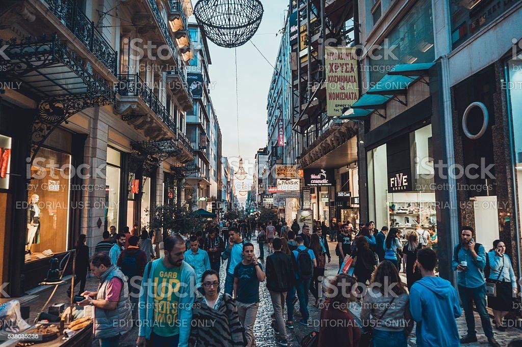 Ermou street stock photo